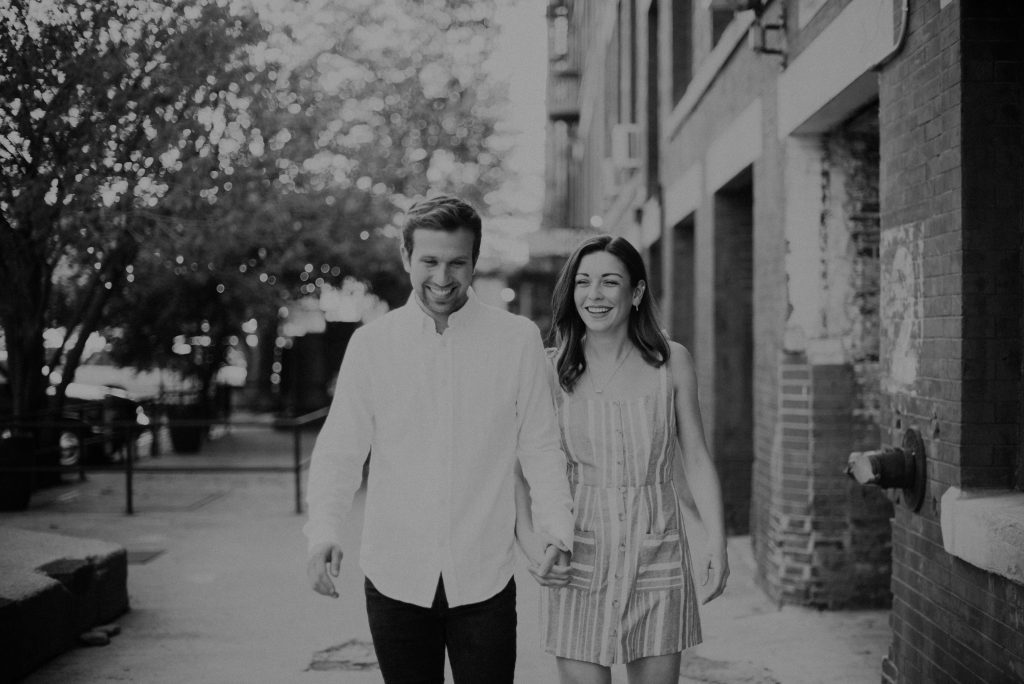 engagement photos at old market downtown omaha, nebraska