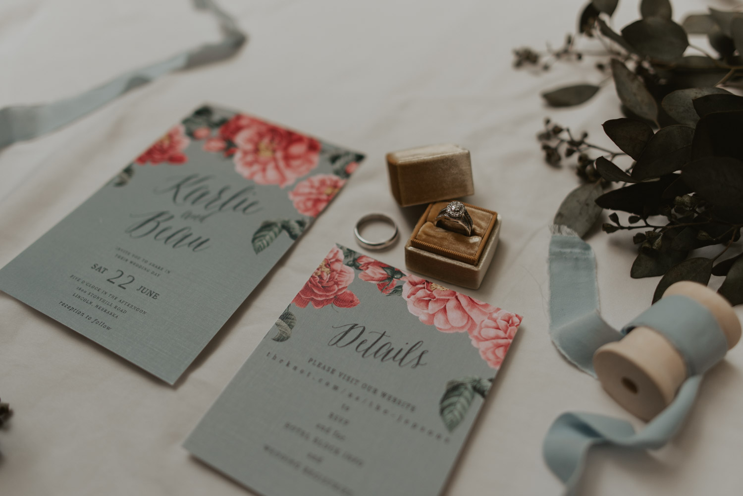 ring details with invite suite from wedding in lincoln, nebraska