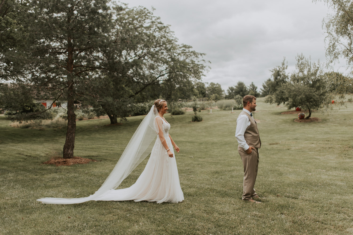first look moments from wedding in lincoln, nebraska