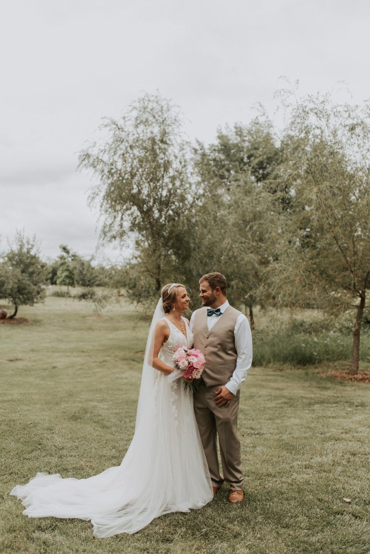 bridal shot of bride and groom from wedding in lincoln, nebraska