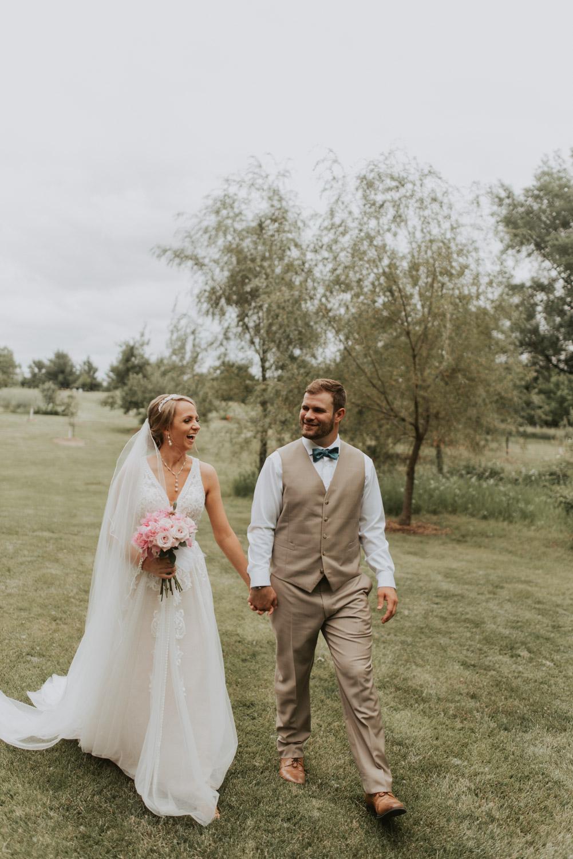 bride and groom from wedding in lincoln, nebraska