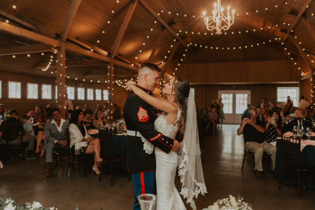 bride and groom first dance from wedding reception at the barn at raccoon creek in ken caryl denver colorado