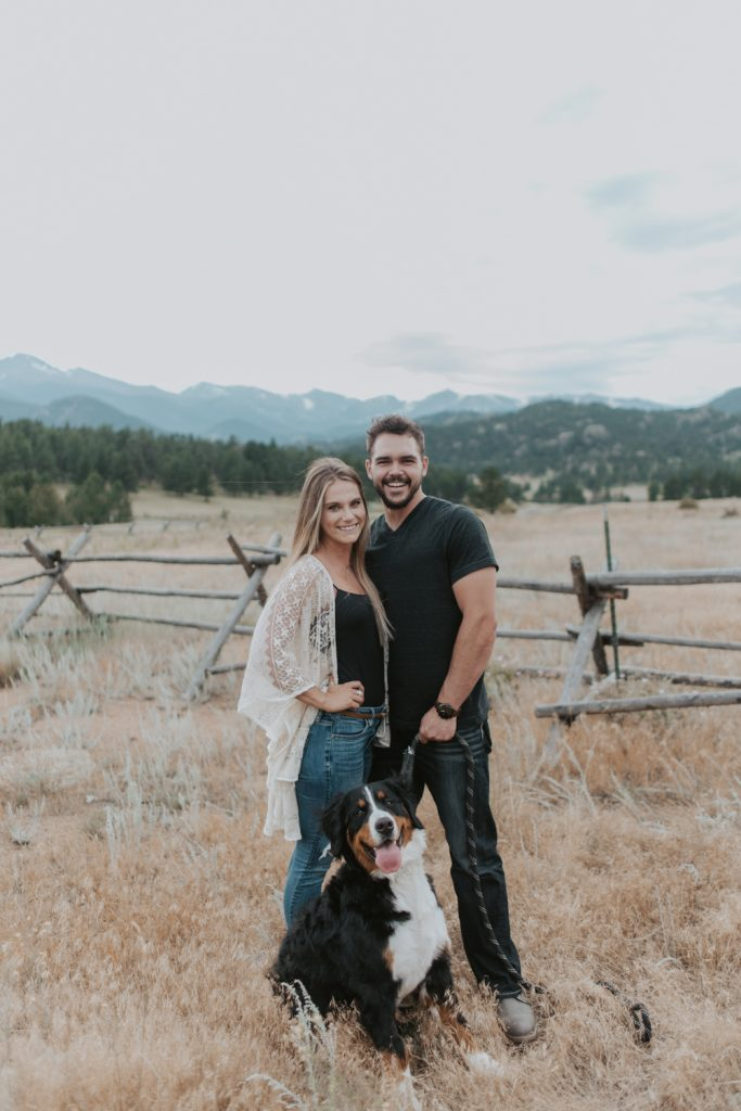 couples session with bernese mountain dog in rocky mountain national park colorado
