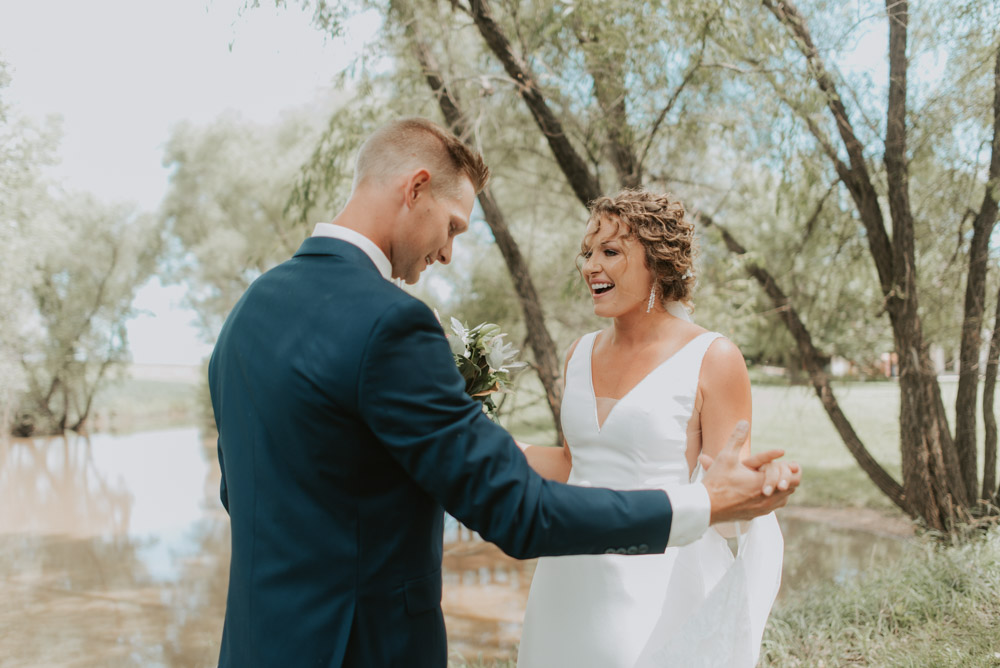 bride and groom first look for wedding ceremony in pickrell-lincoln nebraska