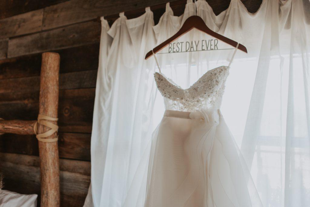 wedding dress details at wedding in belleview fort collins colorado