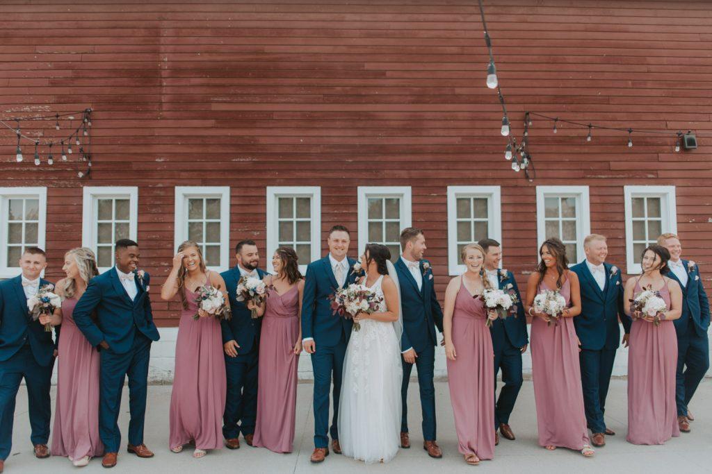 bridal party from ackerhurst barn wedding in omaha, nebraska