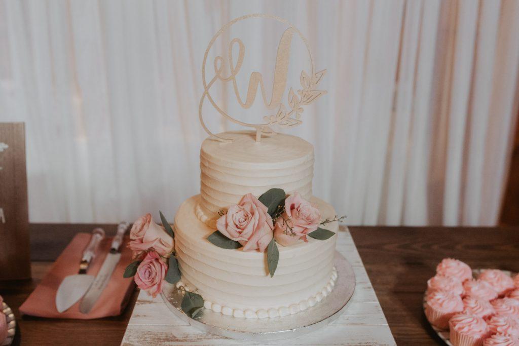 wedding cake and dessert table from ackerhurst barn wedding in omaha, nebraska