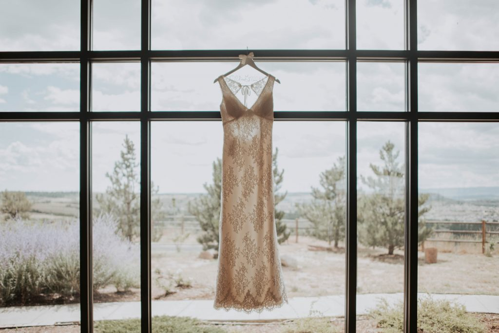 brides wedding dress from wedding ceremony at st. francis of assisi in castle rock colorado