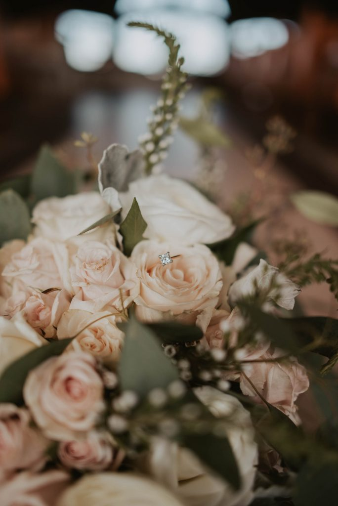 brides bouquet from wedding ceremony at st. francis of assisi in castle rock colorado