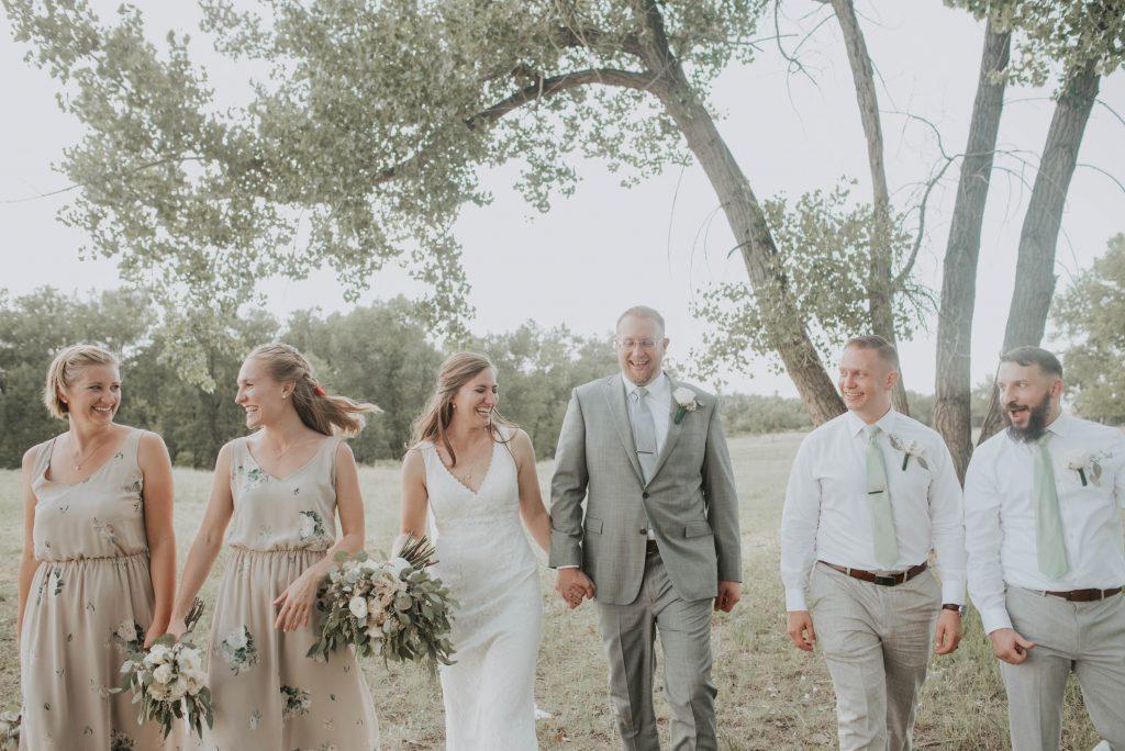 bridal party from fall barn wedding in sedalia colorado