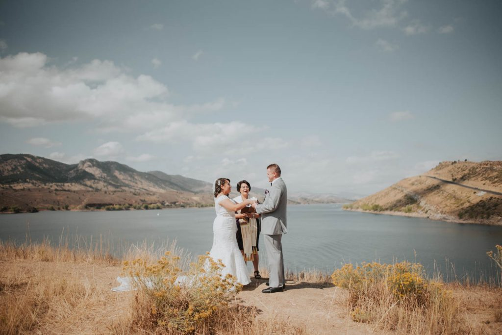 bride and groom first look and vows from wedding at horsetooth in fort collins colorado