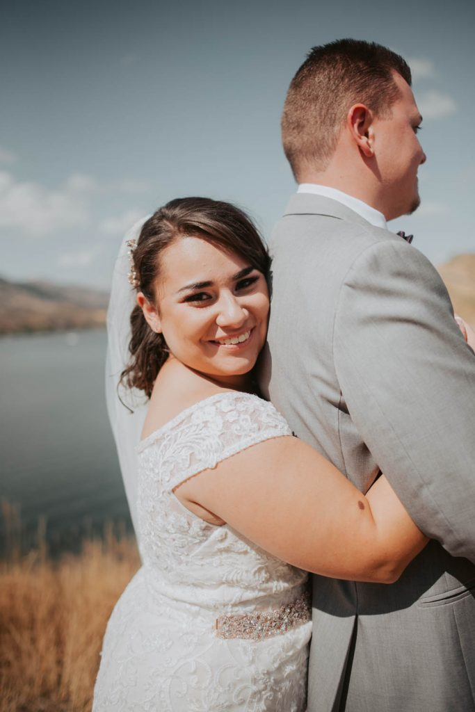 bride and groom first look from wedding at horsetooth in fort collins colorado