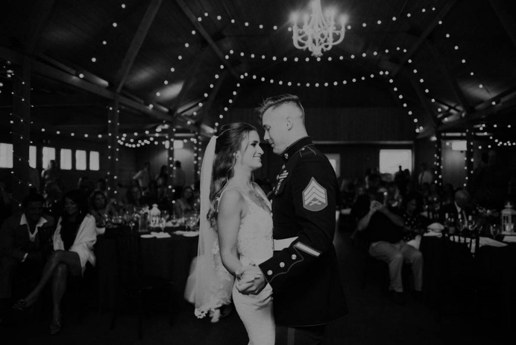 bride and groom first dance from wedding at raccoon creek in littleton colorado