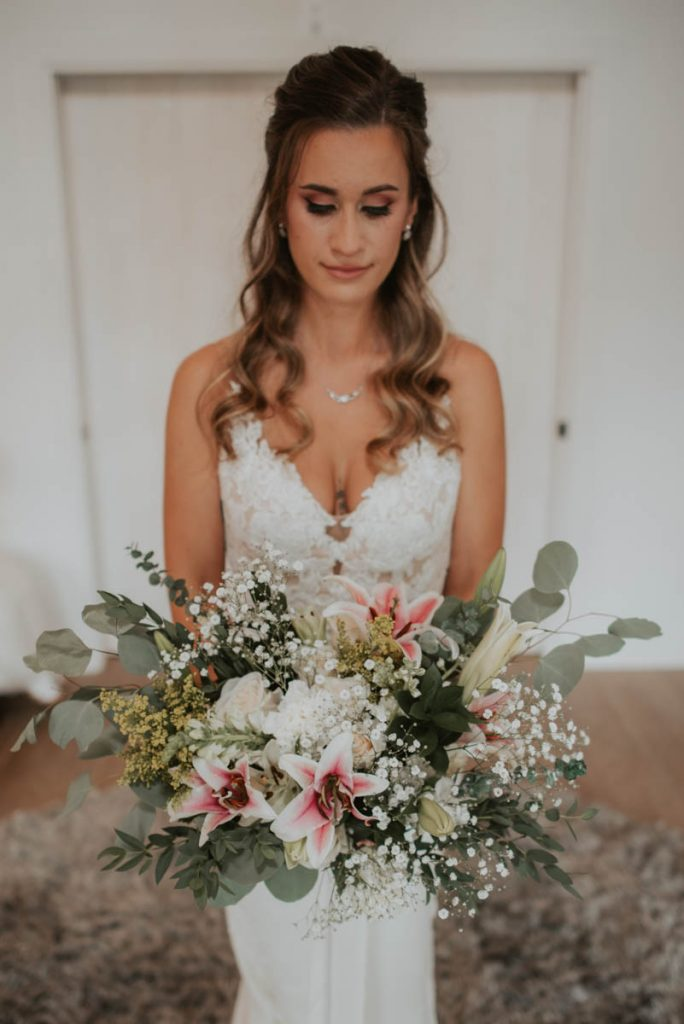 bridal bouquet details from wedding at raccoon creek in littleton colorado