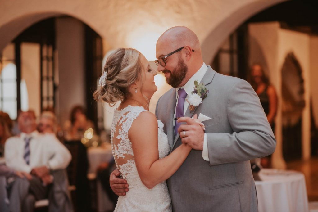 bride and groom first dance from wedding at villa parker in denver colorado
