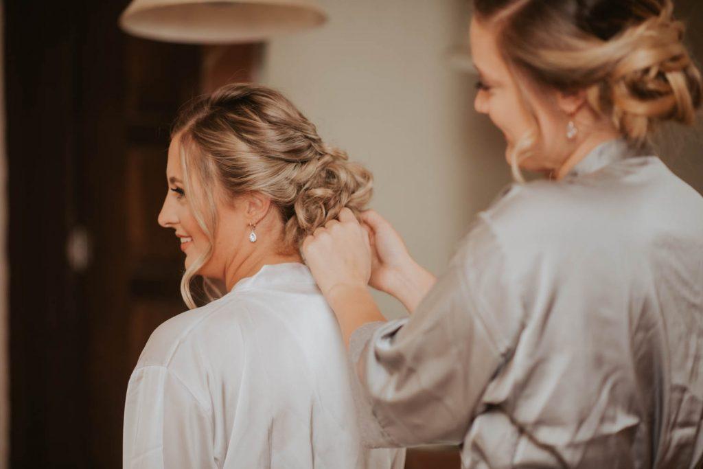bride getting ready from wedding at villa parker in denver colorado