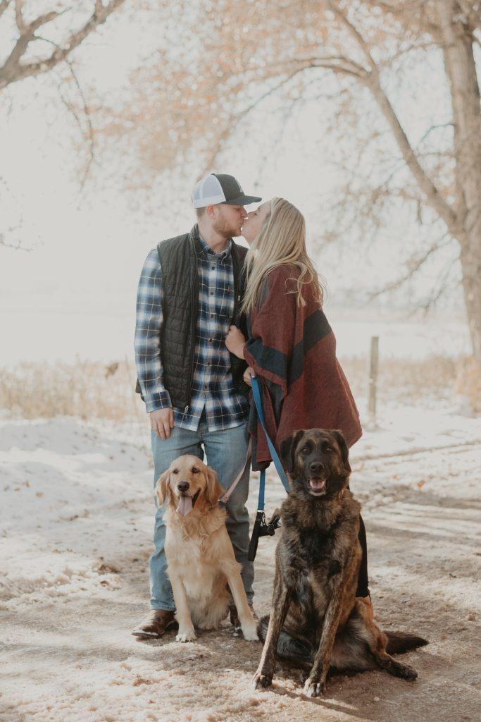 couples fall winter engagement photos in boulder colorado