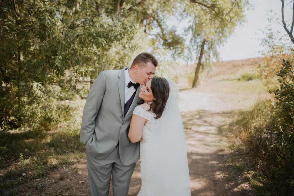bride and groom at wedding at horsetooth reservoir in fort collins colorado