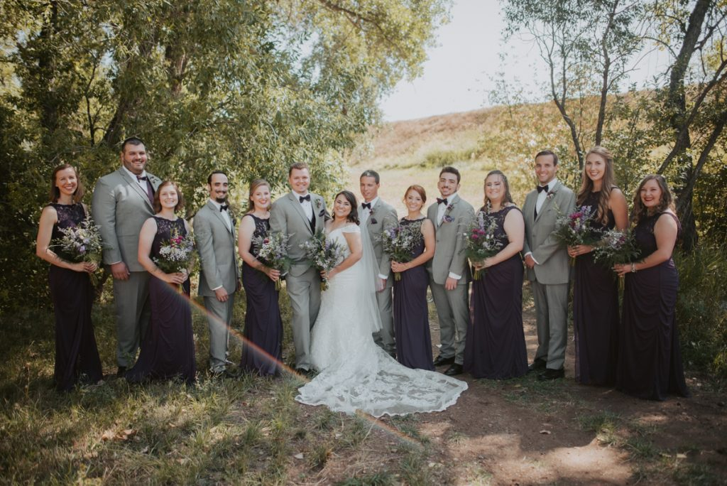 bridal party at wedding at horsetooth reservoir in fort collins colorado