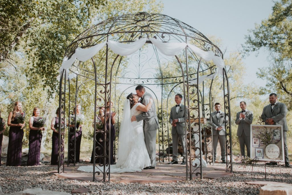 ceremony at wedding at horsetooth reservoir in fort collins colorado