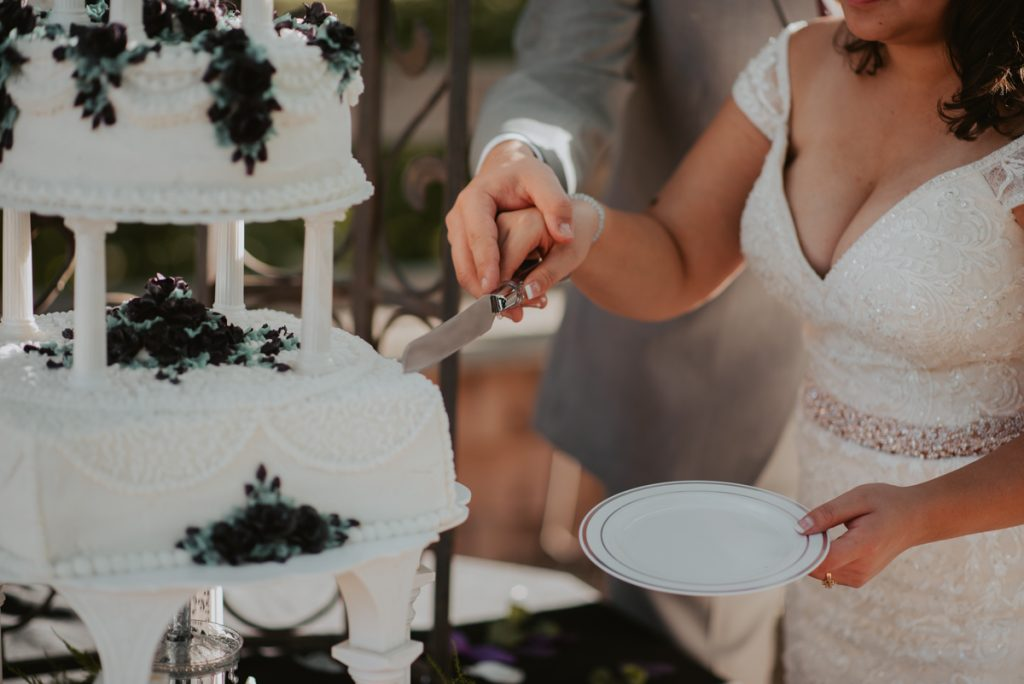 cake cutting from wedding at horsetooth reservoir in fort collins colorado
