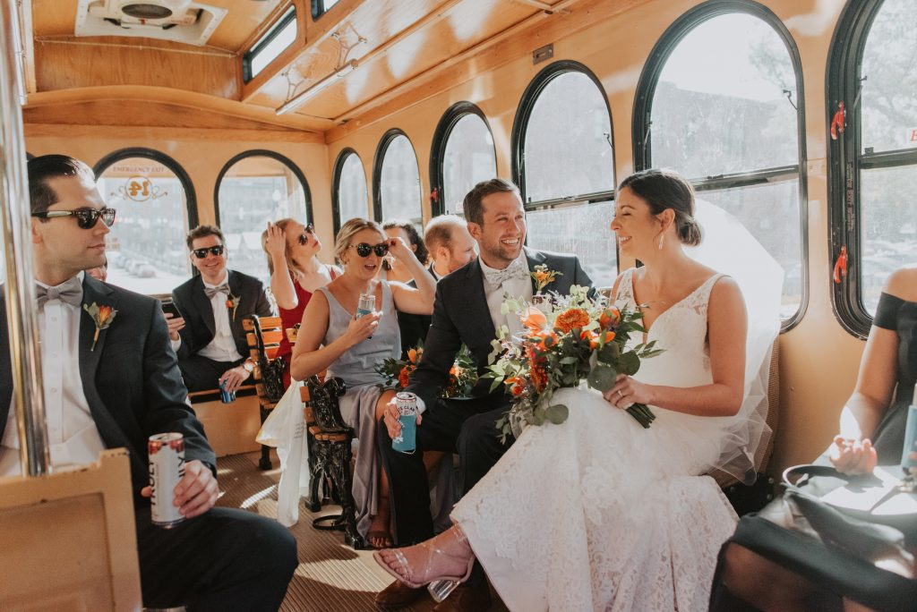 bridal party on ollie the party bus in omaha nebraska