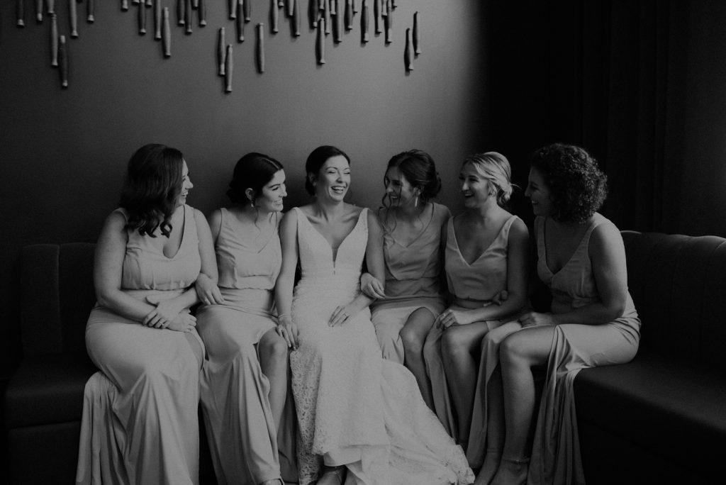 bridesmaids getting ready at hotel deco in omaha nebraska