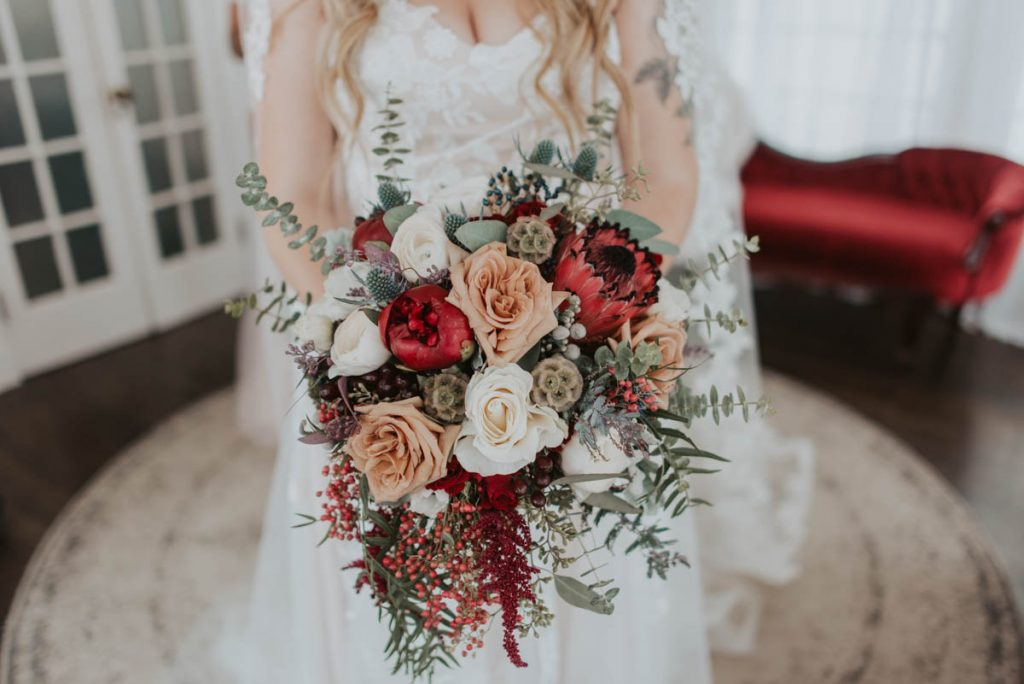bridal bouquet at wedding in littleton colorado at manor house