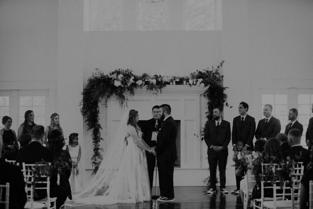 ceremony at wedding in littleton colorado at manor house