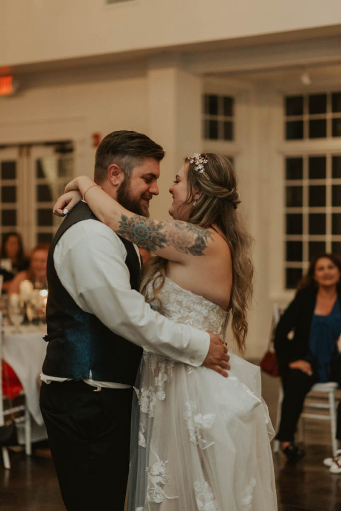bride and groom first dance at wedding in littleton colorado at manor house