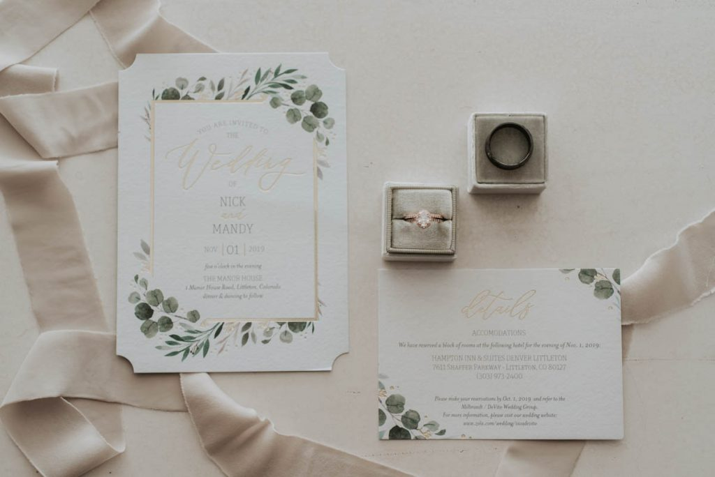invites at wedding in littleton colorado at manor house