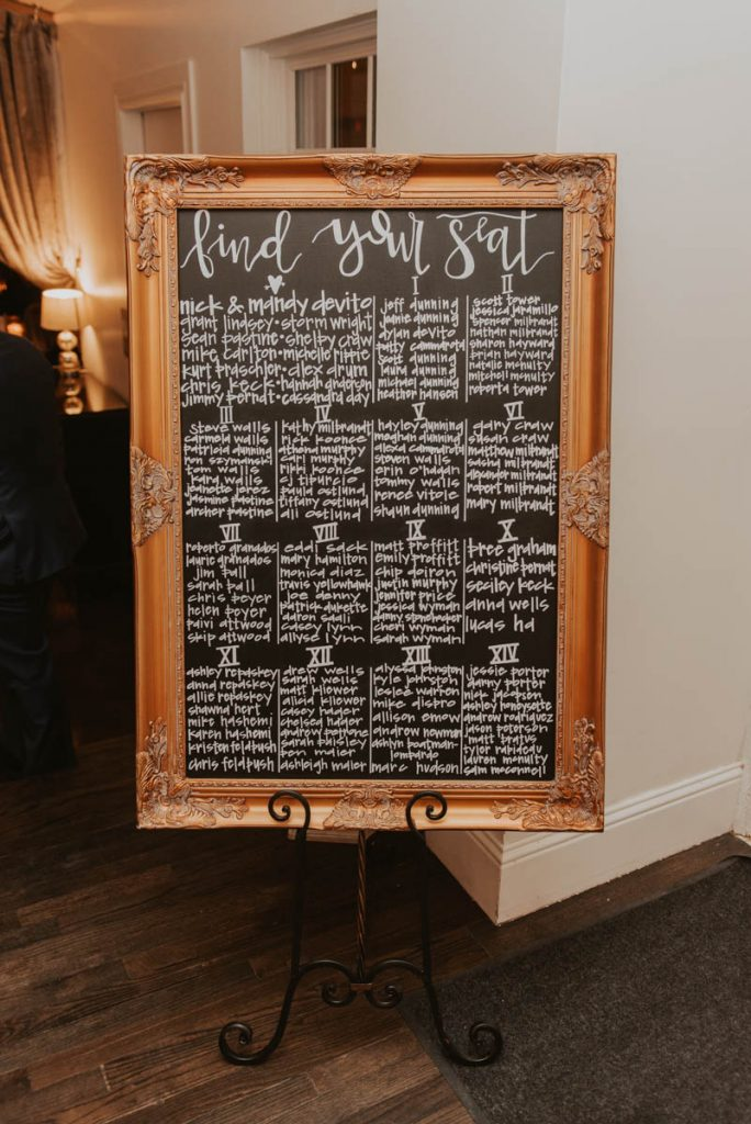seating chart at wedding in littleton colorado at manor house